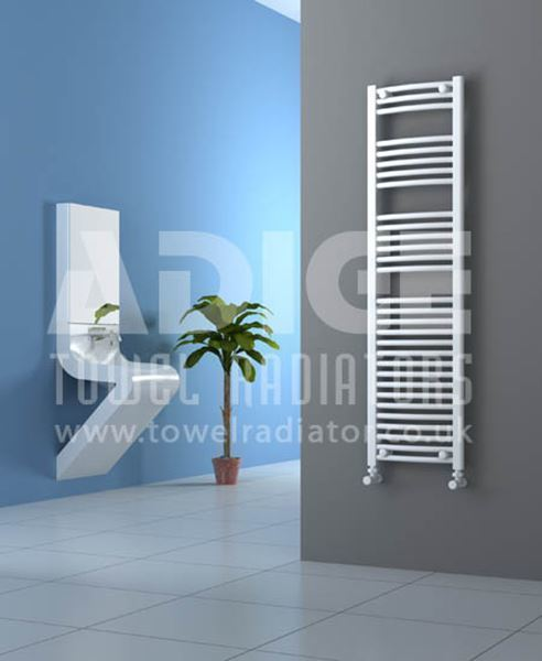 Picture of 400mm Wide 1500mm High White Curved Towel Radiator