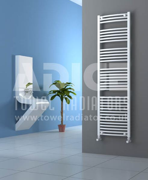 Picture of 500mm Wide 1750mm High White Curved Towel Radiator