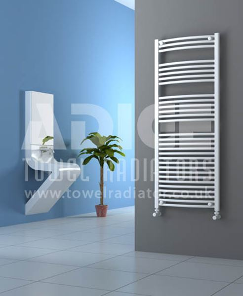 Picture of 600mm Wide 1500mm High White Curved Towel Radiator