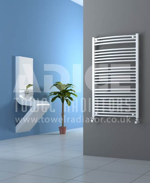 Picture of 700mm Wide 1150mm High White Curved Towel Radiator