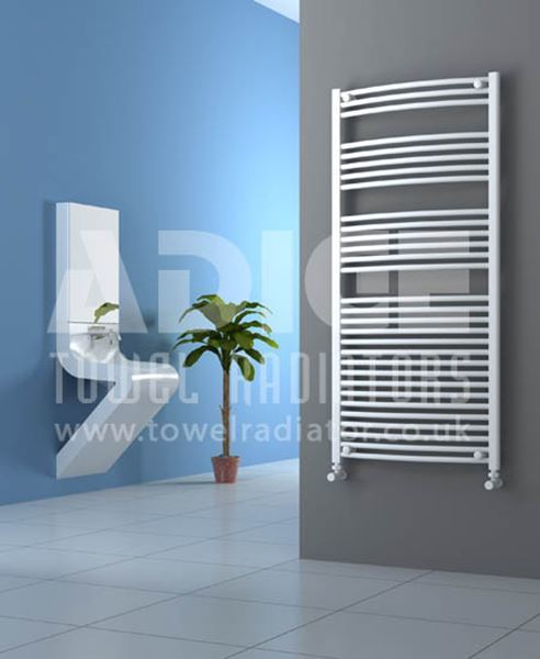 Picture of 700mm Wide 1500mm High White Curved Towel Radiator