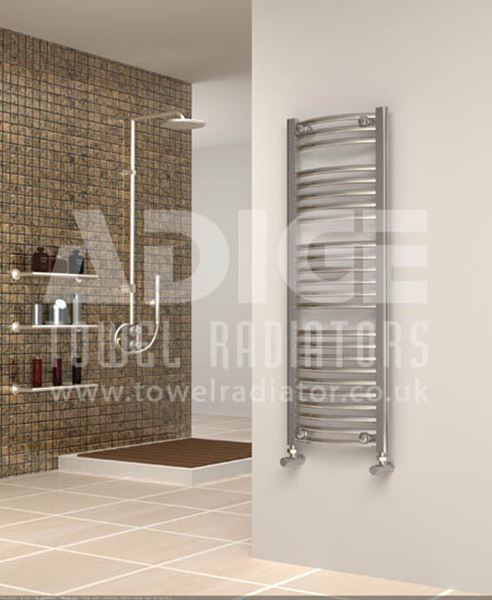 Picture of 400mm Wide 1150mm High Chrome Curved Towel Radiator