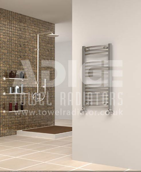 Picture of 400mm Wide 750mm High Chrome Curved Towel Radiator