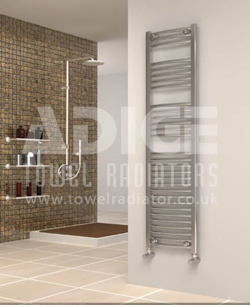 Picture of 400mm Wide 1500mm High Chrome Curved Towel Radiator