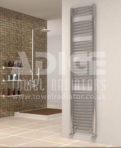 Picture of 400mm Wide 1750mm High Chrome Curved Towel Radiator