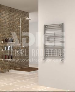 Picture of 500mm Wide 750mm High Chrome Curved Towel Radiator