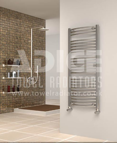 Picture of 500mm Wide 1150mm High Chrome Curved Towel Radiator