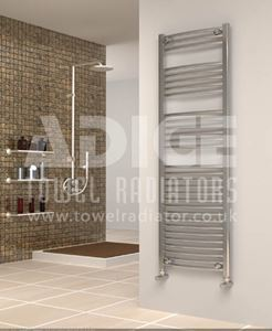 Picture of 500mm Wide 1500mm High Chrome Curved Towel Radiator
