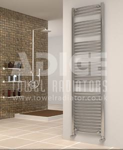Picture of 500mm Wide 1750mm High Chrome Curved Towel Radiator