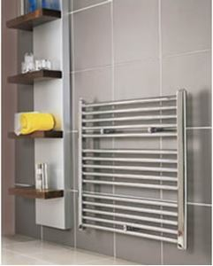 Picture of 600mm Wide 600mm High Chrome Curved Towel Radiator