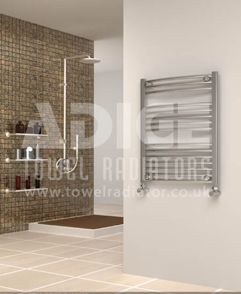 Picture of 600mm Wide 750mm High Chrome Curved Towel Radiator