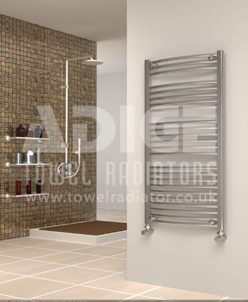 Picture of 600mm Wide 1150mm High Chrome Curved Towel Radiator