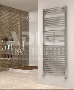 Picture of 600mm Wide 1500mm High Chrome Curved Towel Radiator