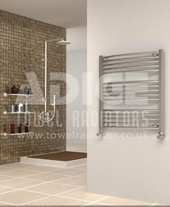 Picture of 700mm Wide 750mm High Chrome Curved Towel Radiator