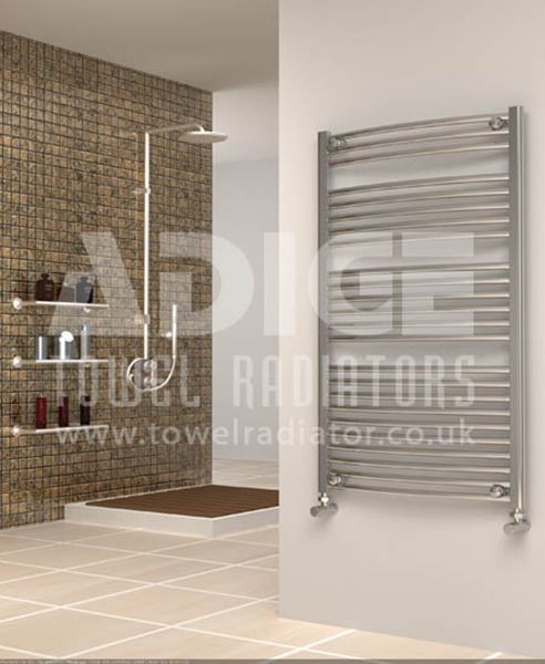 Picture of 700mm Wide 1150mm High Chrome Curved Towel Radiator