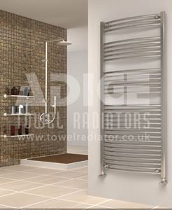 Picture of 700mm Wide 1500mm High Chrome Curved Towel Radiator
