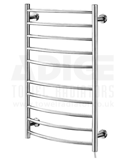 Stainless Steel Electric Radiator Towel Rail: 530mm Wide 870mm High CURVED Stainless Steel Electric