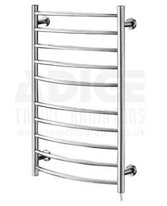 Picture of 530mm Wide 870mm High CURVED Stainless Steel Electric Towel Rail
