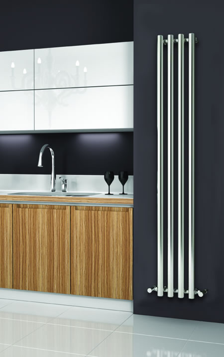 ORIA 270mm Wide 1800mm High CHROME Designer Bathroom Radiator
