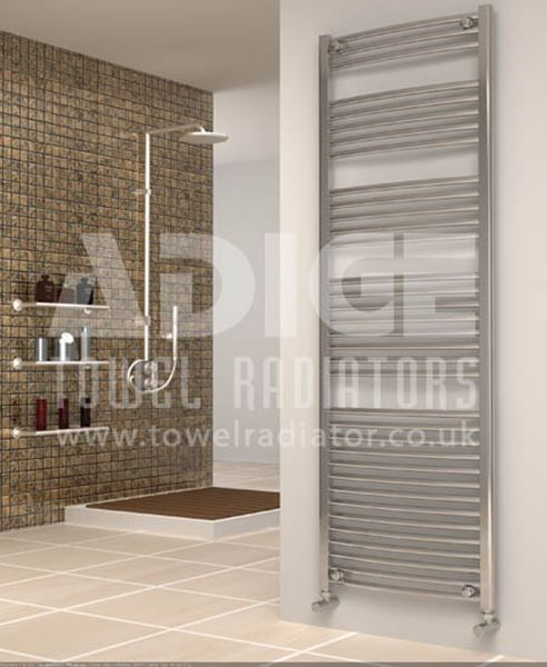 Picture of 600mm Wide 1750mm High Chrome Curved Towel Radiator