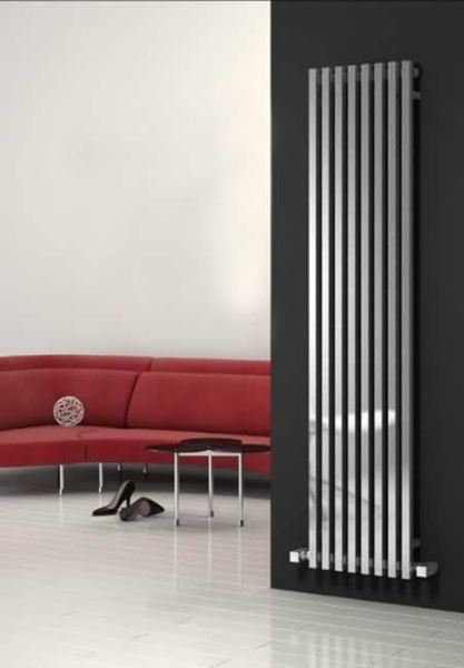 Picture of CASCIA 240mm Wide 1800mm High Designer Bathroom Radiator - Vertical Chrome