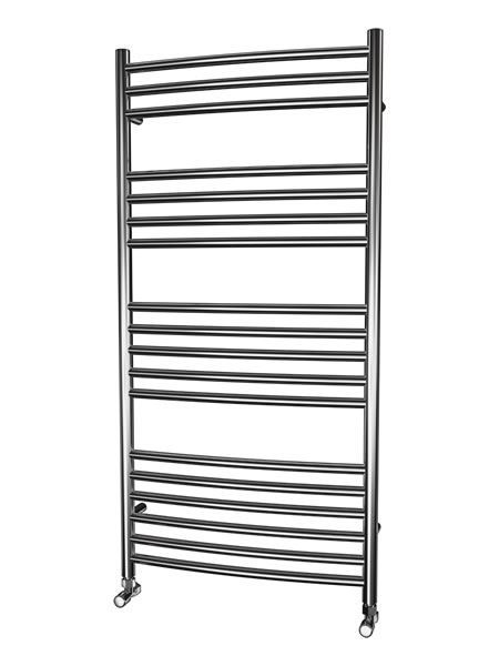 Picture of 600mm Wide 1200mm High CURVED Stainless Steel Towel Radiator