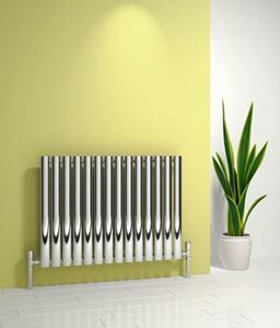 Picture of NEROX 413mm Wide 600mm High Column Radiator - Polished Single Designer Radiator