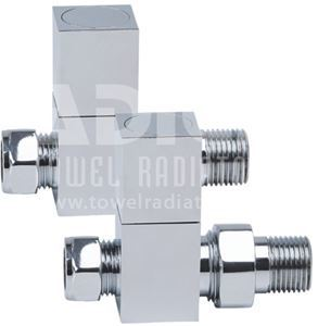 Picture of Chrome Square STRAIGHT Radiator Valves - Pair