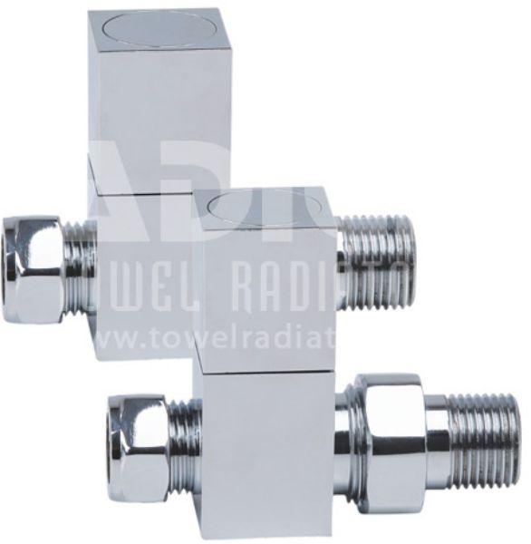 Picture of Chrome Square STRAIGHT Radiator Valves - Pair
