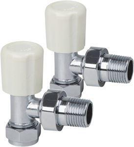 Picture of White ANGLED Radiator Valves - Budget Option - Pair