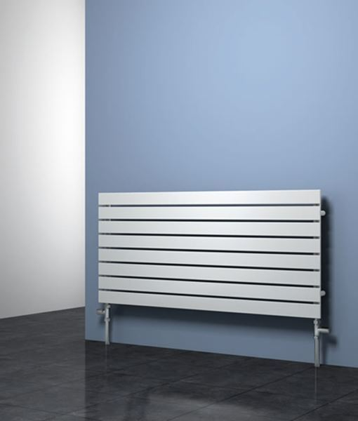 Picture of RIONE 400mm Wide 550mm High Designer Bathroom Radiator - White Single