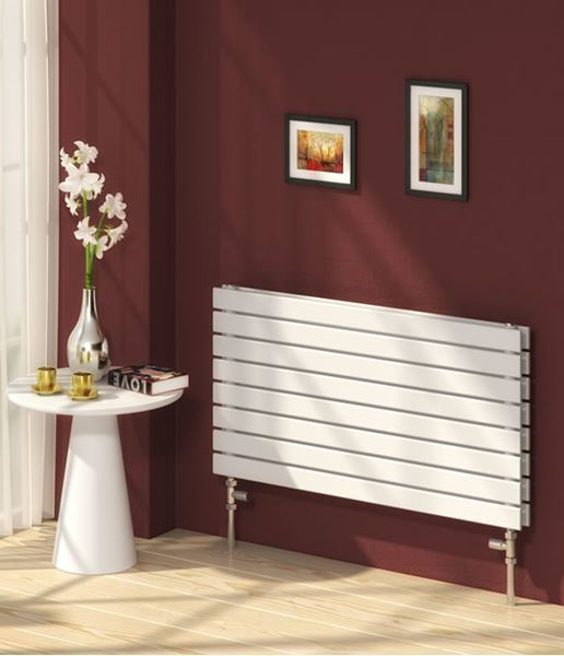 Picture of RIONE 800mm Wide 550mm High Designer Bathroom Radiator - White Double