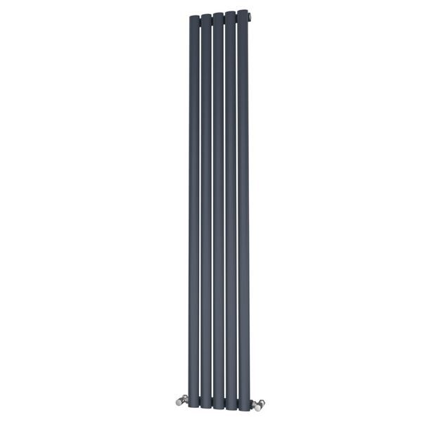 Picture of OLIVER 290mm Wide 1800mm High Elliptical Tube Radiator - Anthracite Single