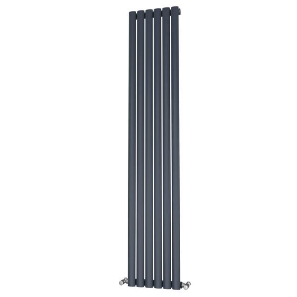 Picture of OLIVER 348mm Wide 1800mm High Elliptical Tube Radiator - Anthracite Single