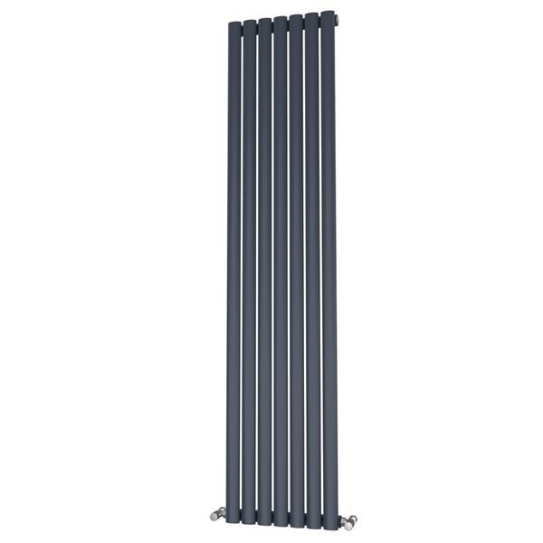 Picture of OLIVER 406mm Wide 1600mm High Elliptical Tube Radiator - Anthracite Single