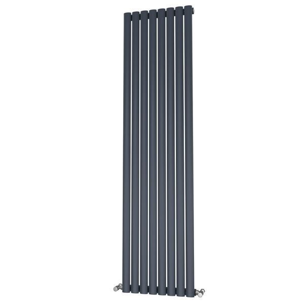 Picture of OLIVER 464mm Wide 1800mm High Elliptical Tube Radiator - Anthracite Single