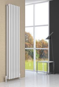 Picture of ROUND 413mm Wide 1800mm High Designer Radiator - White Double