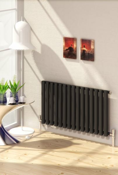 Picture of SENA 595mm Wide 550mm High Black Designer Radiator