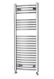 Picture of 500mm Wide 1172mm High Chrome CURVED Eco Heated Towel Rail