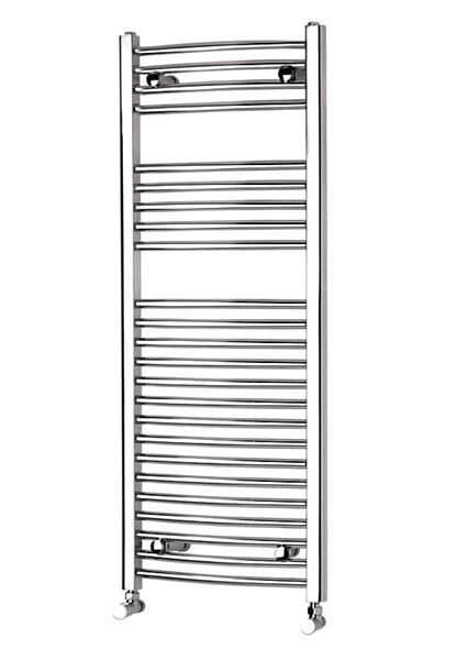 Picture of 500mm Wide 1177mm High Chrome CURVED Eco Heated Towel Rail