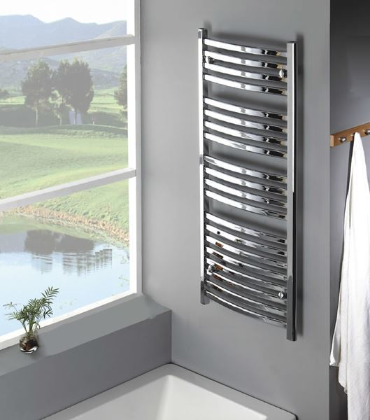 Picture of SAGA 450/1180mm Chrome Curved Designer Towel Radiator