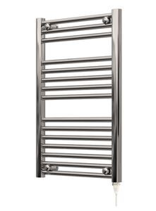 Picture of 500mm Wide 750mm High Chrome Flat Pre-Filled Electric Towel Rail - Standard