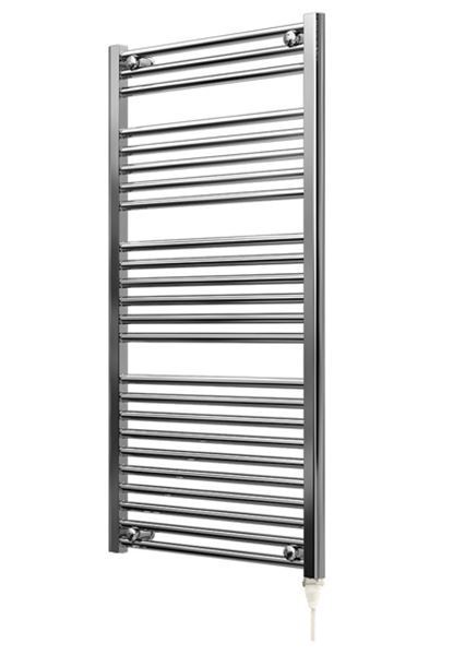 Picture of 500mm Wide 1150mm High Chrome Flat Pre-filled Electric Towel Rail - Standard
