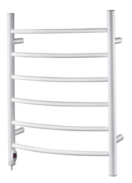 Picture of 530mm Wide 870mm High CURVED Stainless Steel Electric Towel Rail in White