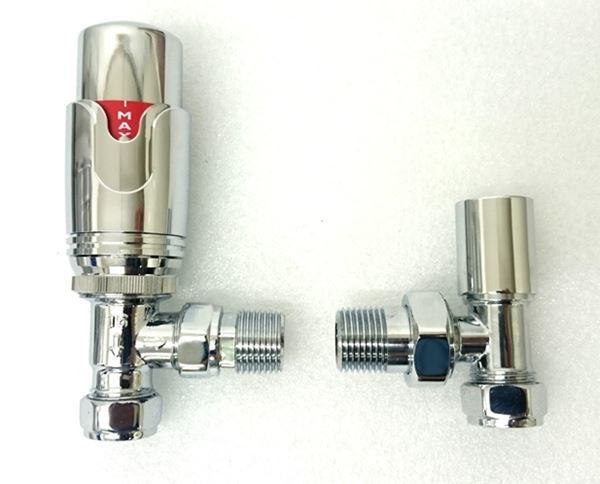 Picture of Thermostatic Chrome Angled Radiator Valve Set