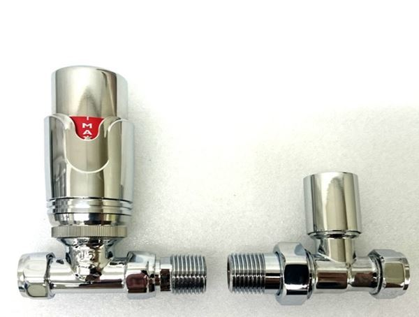 Picture of Thermostatic Chrome Straight Radiator Valve - Set