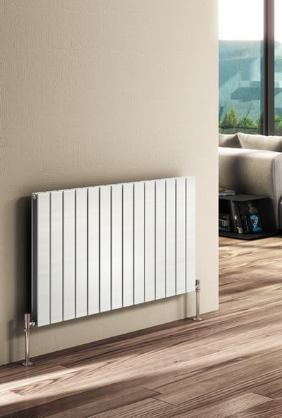 Picture of FLAT 1254mm Wide 600mm High Designer Bathroom Radiator - White Double