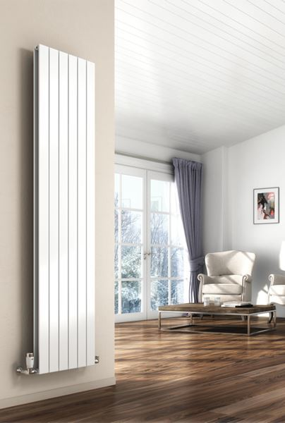 Picture of FLAT 292mm Wide 1800mm High Designer Bathroom Radiator - White Double