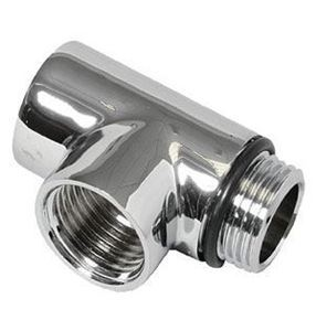 Tee Pipe - Dual Fuel Adaptor in Chrome