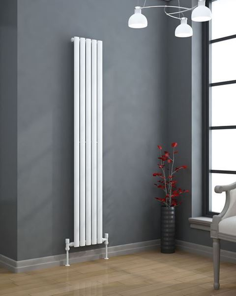 VERTICA 300mm Wide 1500mm High Oval Tube Designer Radiator White Single Panel